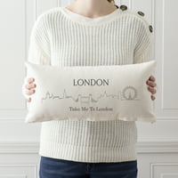 Personalized London Cityscape Lumbar Throw Pillow