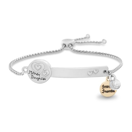 Lesa Michele Women's White Crystal Heart and Forever Friends Disc Charm ID Plate Adjustable Slider Chain Bracelet in Yellow Gold and Rhodium Plated Brass](Friends Forever Heart)