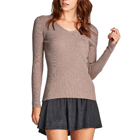 KOGMO Women's Long Sleeve V-Neck Fitted Rib Rayon Nylon Sweater - Lined Nylon Sweater