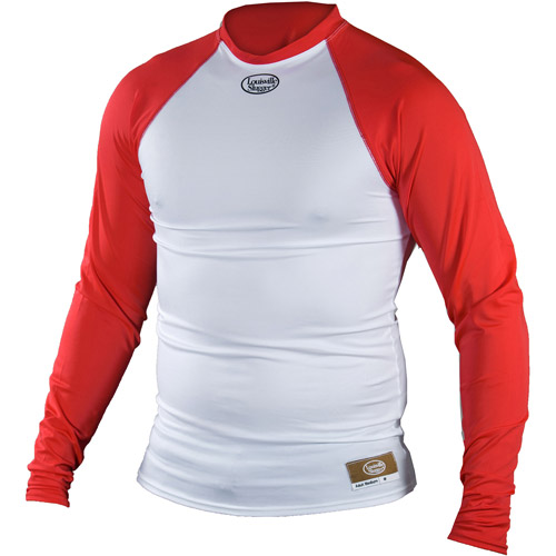 Louisville Slugger Adult Slugger Compression Fit Long Sleeve Shirt, White/Red