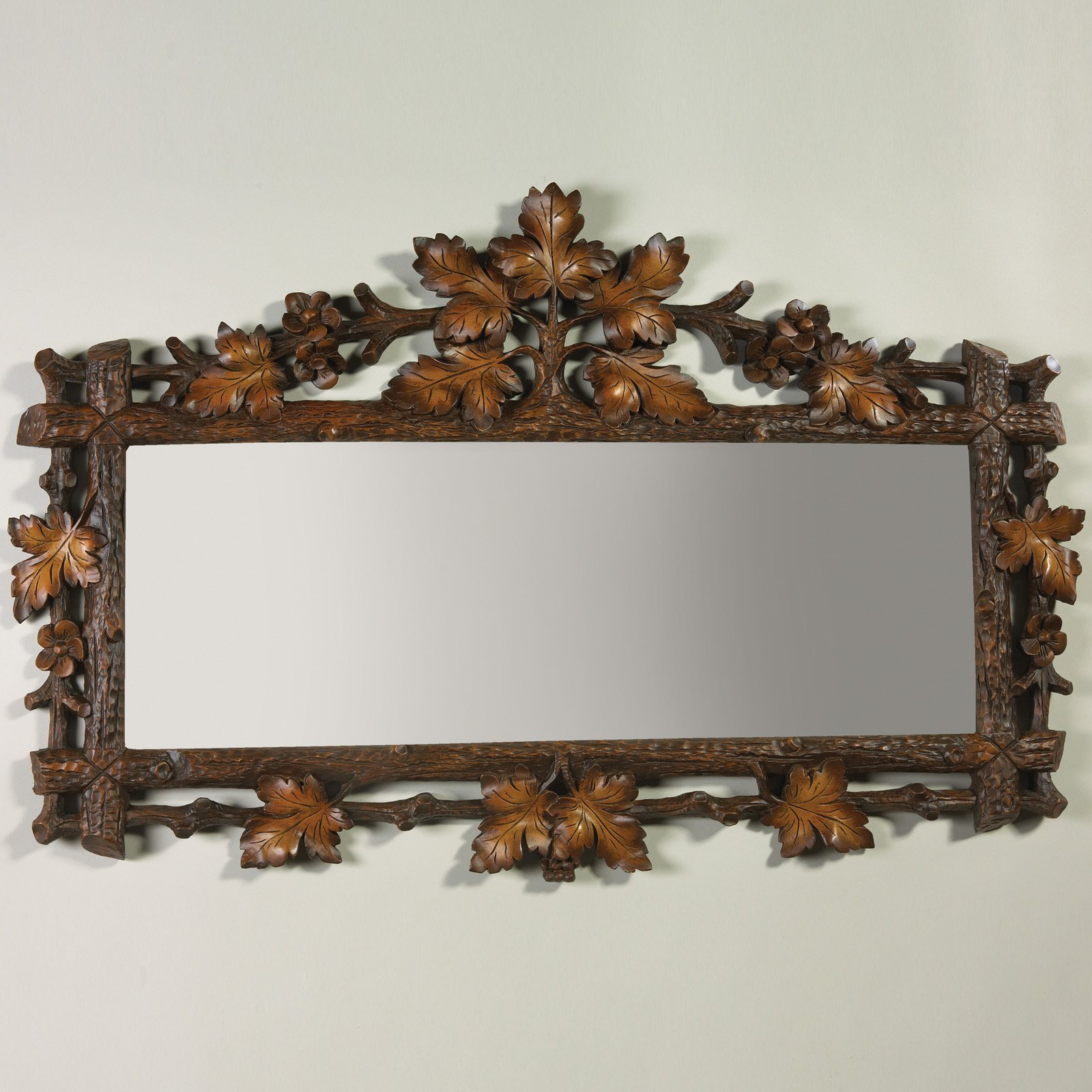 Oklahoma Casting Carved Oak Leaf Rectangle Wall Mirror