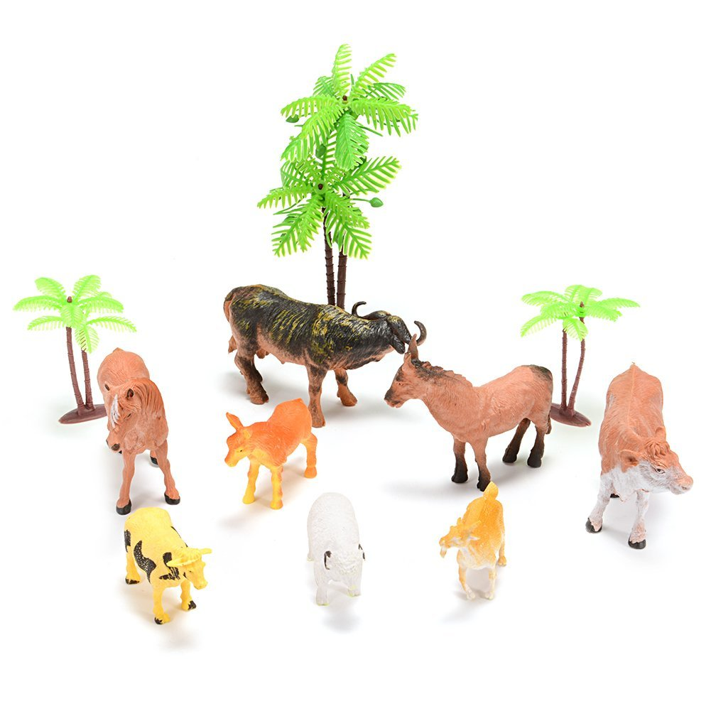 Farm Animal Figure Toys Animal Action Figure Set Kids Animal Toys (8-Piece) by GlowSol