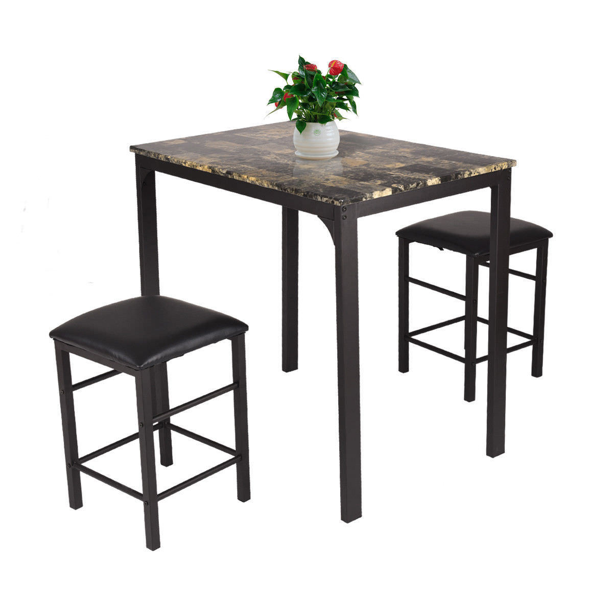 Costway 3 PCS Counter Height Dining Room Set Faux Marble Table 2 Chairs Kitchen Bar Furniture by Costway