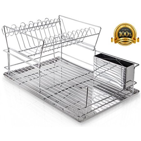 Home Intuition 2-Tier Steel Dish Rack Set with Cup Hooks, Drainer Tray, and Utensil Cup, Chrome (Two Tier Dish)