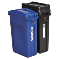 Rubbermaid Commercial Slim Jim Recycling Container, Rectangular, 23 gal, Black/Blue -RCP1998896