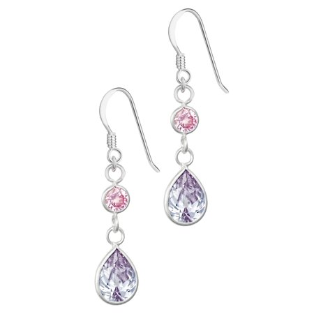 Lavender Dangle (Hypoallergenic Sterling Silver Pink & Lavender Tear Drop CZ Dangle Earrings for Kids (Nickel)