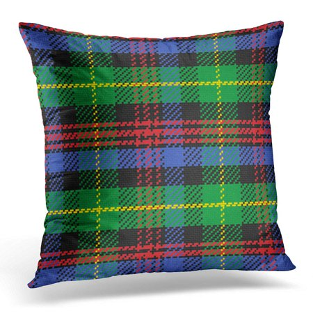 ECCOT Red Britain Blue British Scottish Tartan Black Watch Plaid Green Abstract Yellow Checkered Pillowcase Pillow Cover Cushion Case 20x20 inch