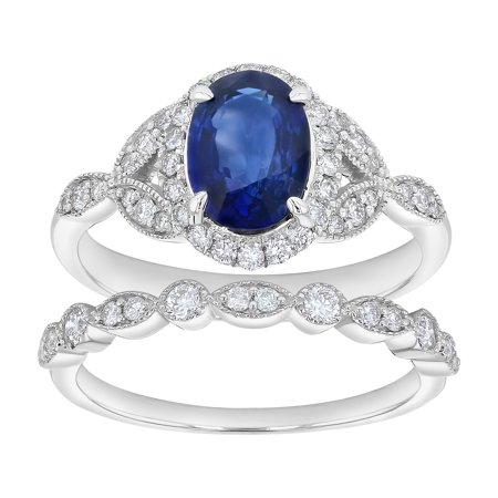 14k White Gold 1/2 Carats TDW Oval Blue Sapphire and Diamond Wedding Ring Set (H-I, SI2-I1) Blue Sapphire 14kt Gold Ring