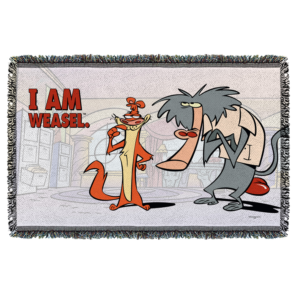 I Am Weasel Buddies Woven Throw White 48X80