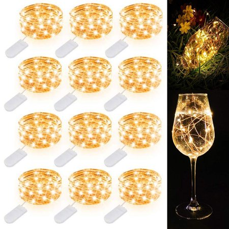 EEEKit 12/6 Pack Fairy String Lights 6.5ft 20 Led Starry String Lights Battery Powered Halloween Lights Copper Wire Lights Firefly Lights for DIY Christmas Decor Lights Cool White ()