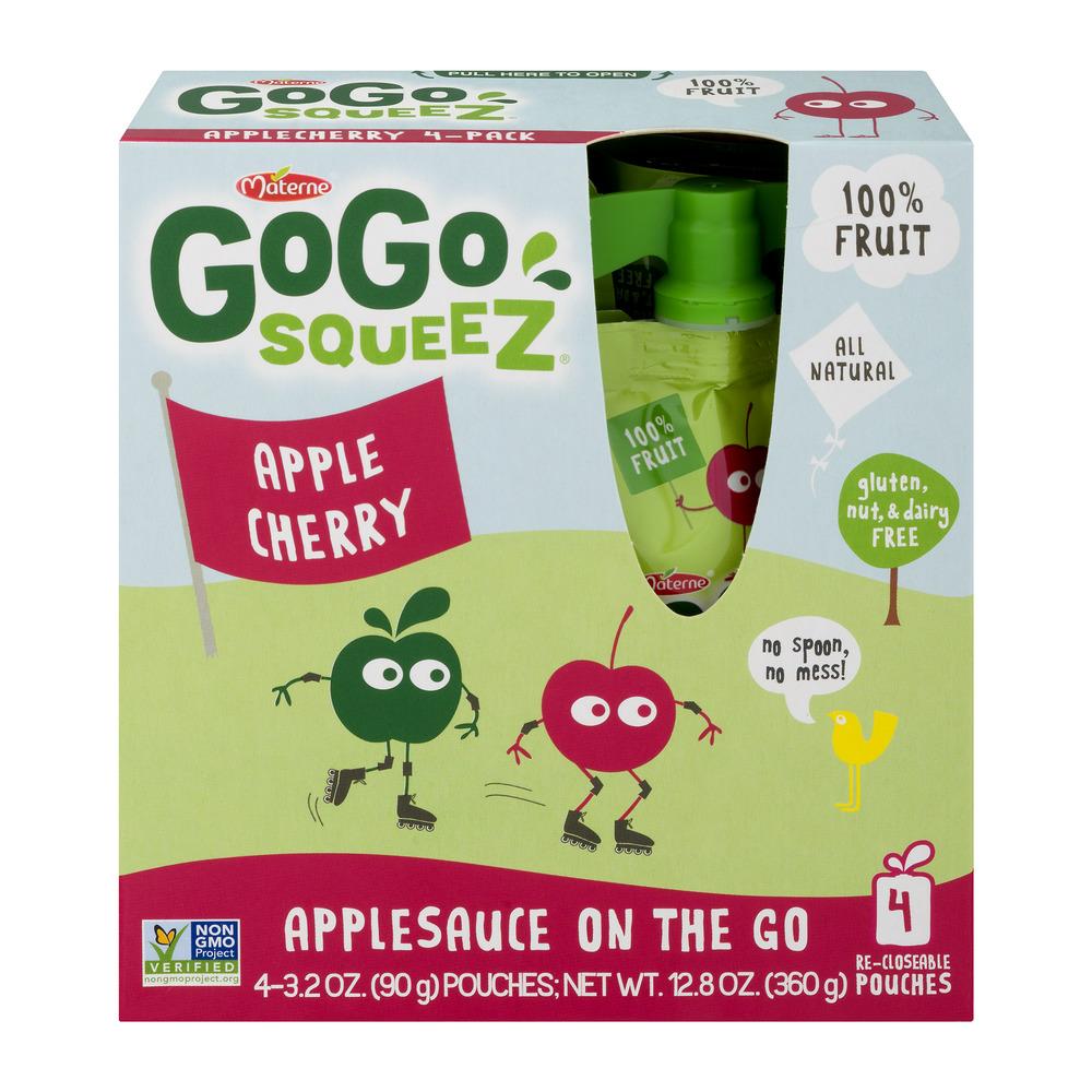 (3 Pack) GoGo SqueeZ AppleCherry Applesauce On The Go, 4 ct