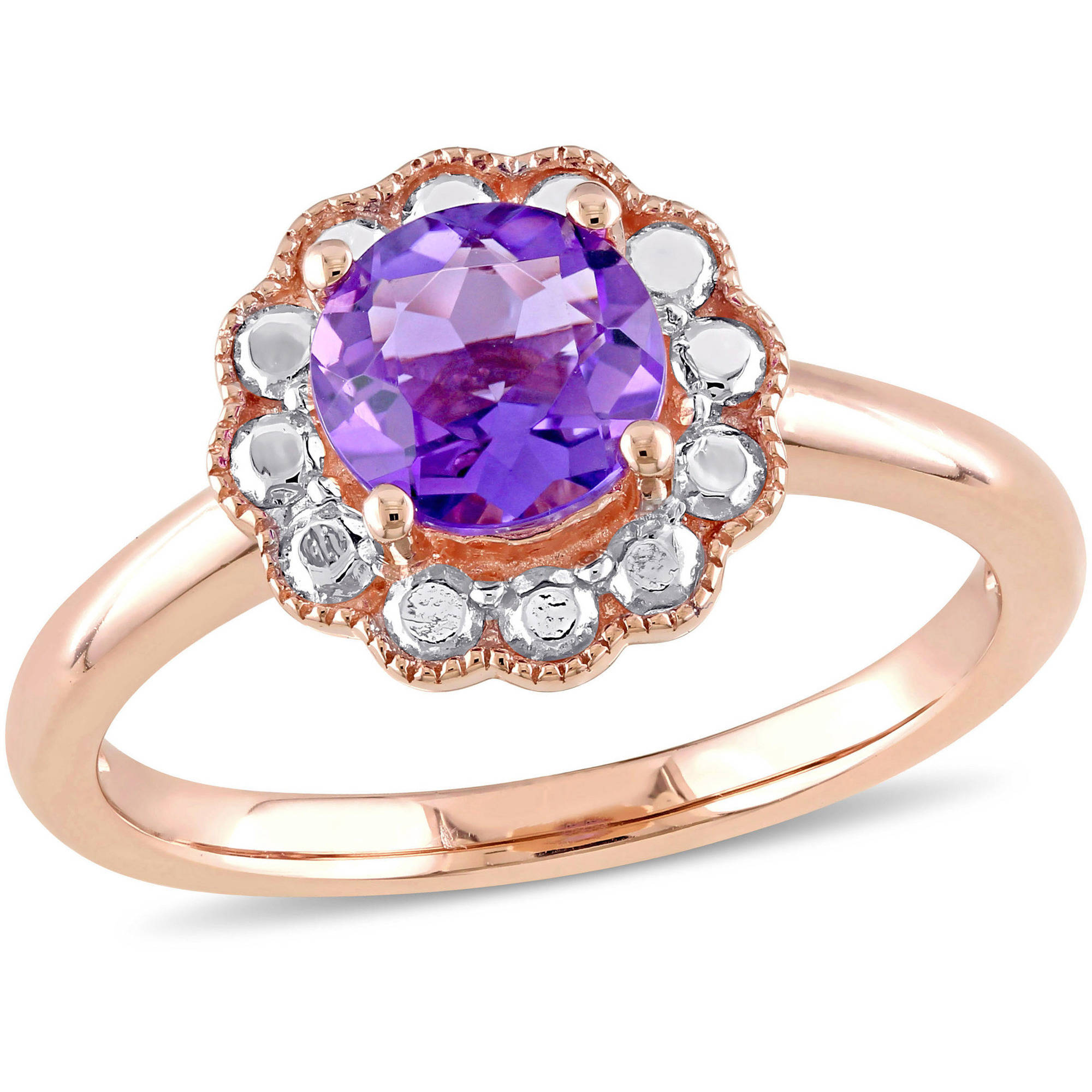 Tangelo 7 8 Carat T.G.W. Amethyst 10kt Rose Gold Flower Cocktail Ring by Tangelo