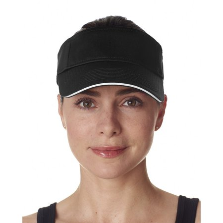 UltraClub Women's Classic Cut Brushed Cotton Twill Sandwich Visor - 8113 Cotton Sandwich Twill Color