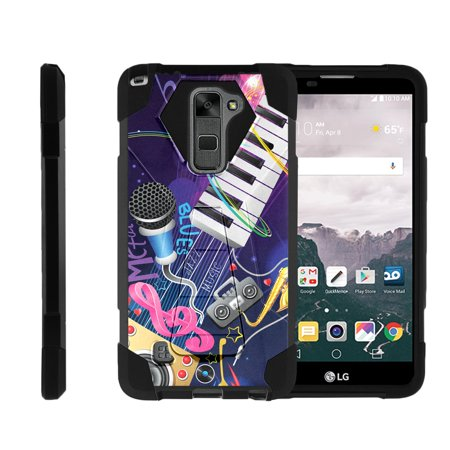 TurtleArmor ® | For LG Stylus 2 | LG G Stylo 2 | LG Stylo 2 V [Dynamic Shell] Dual Layer Hybrid Silicone Hard Shell Kickstand Case - Music Band Digital Dual Band Cell Phone
