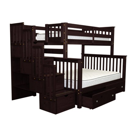 Bedz King Stairway Bunk Beds Twin over Full with 4 Drawers in the Steps and 2 Under Bed Drawers