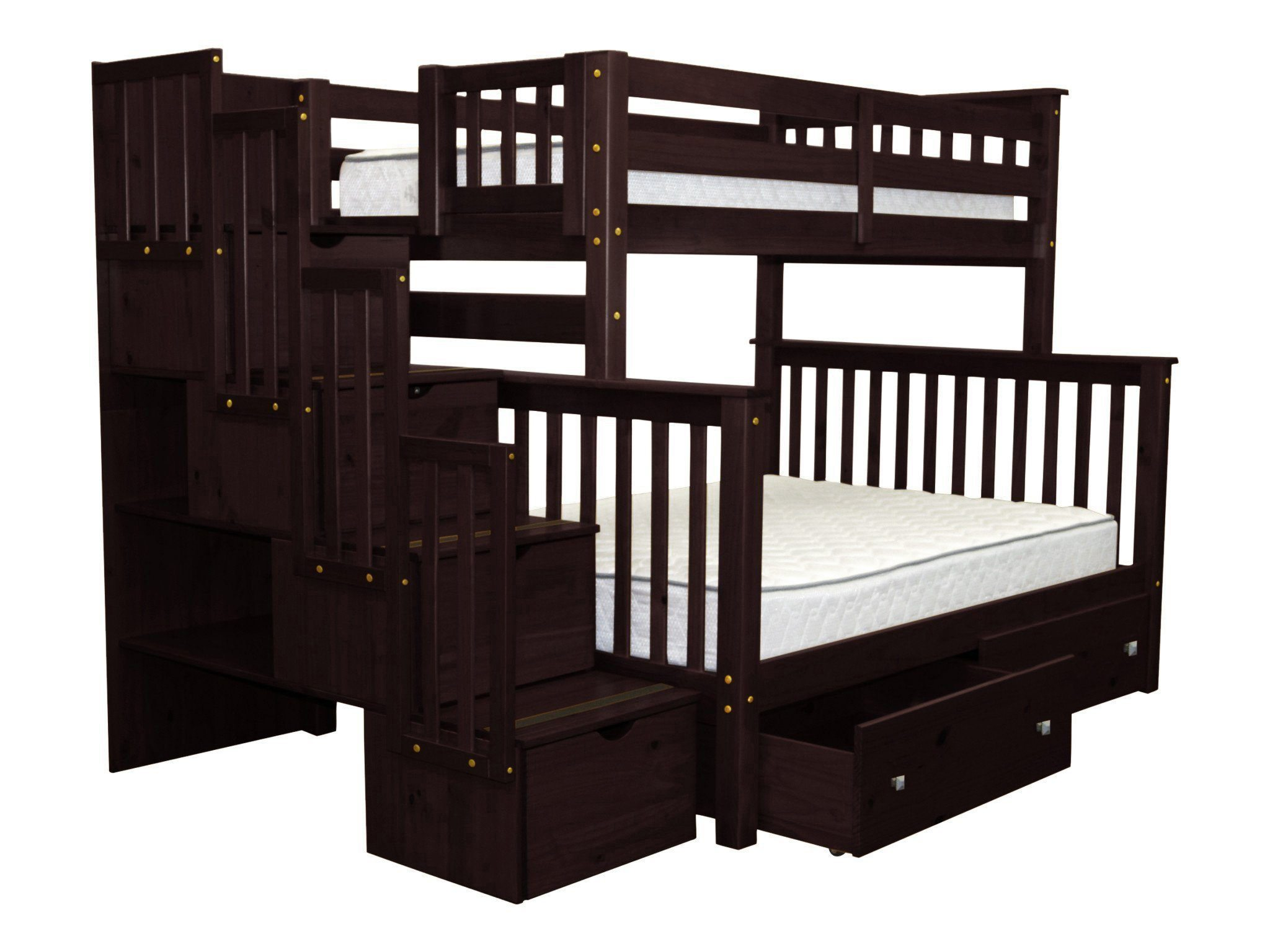 Beau Bedz King Stairway Bunk Beds Twin Over Full With 4 Drawers In The Steps And  2 Under Bed Drawers Cappuccino