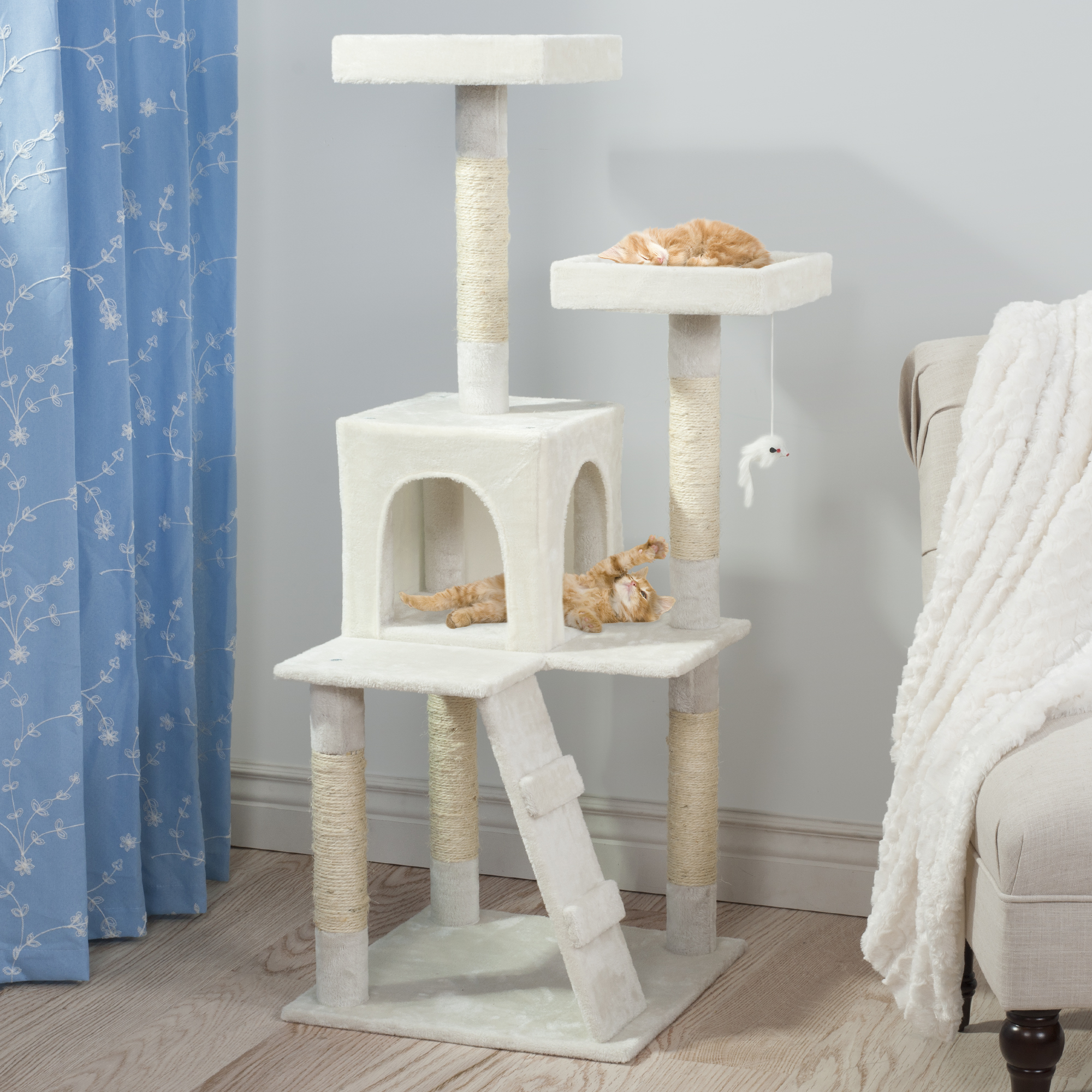 Cat Tree, Cat Condo, Penthouse Sleep and Play Cat Tree 4' tall White by Trademark Global LLC