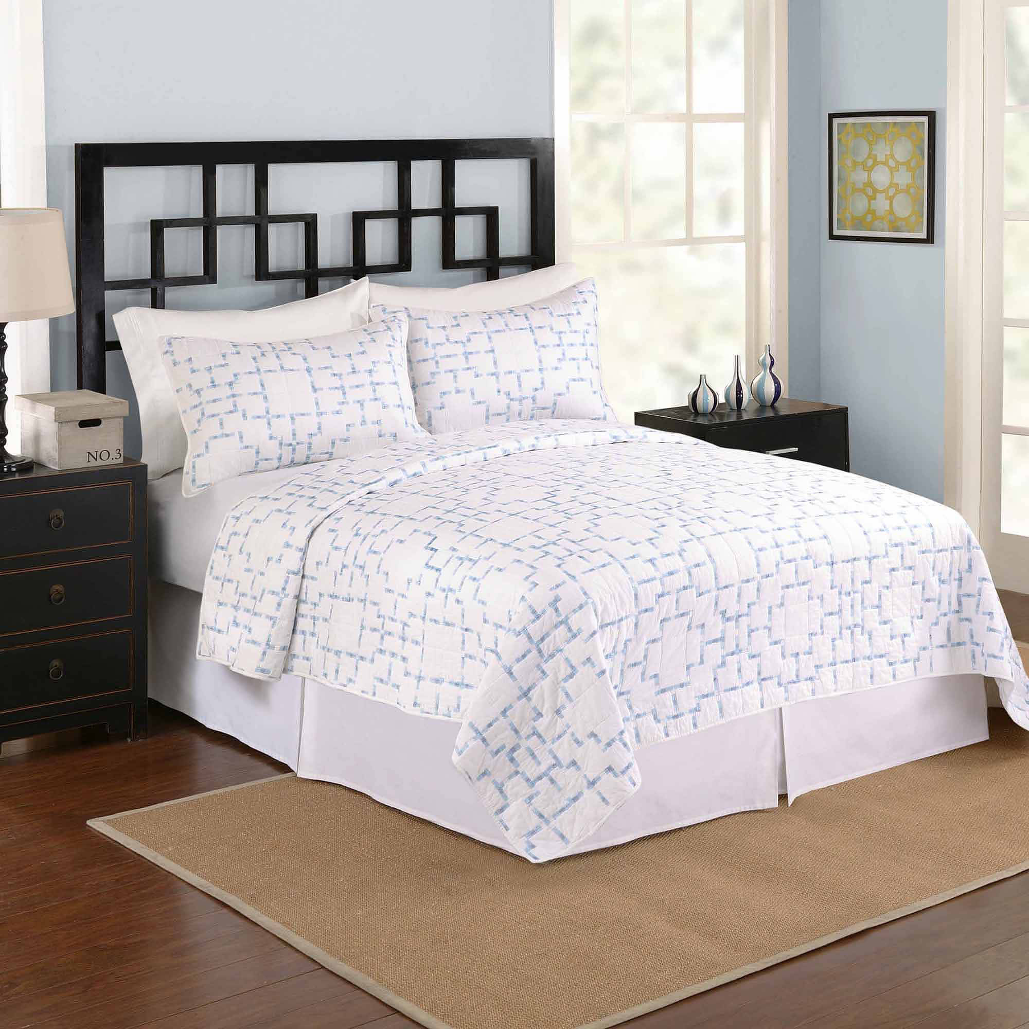 Click here to buy Better Homes and Gardens Easton Bedding Quilt, Blue White by Peking Handicraft Inc.