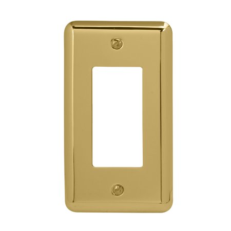 Image of Amerelle 155R Decorative Steel Round Corner Rocker/GFCI Wallplate, Bright Brass