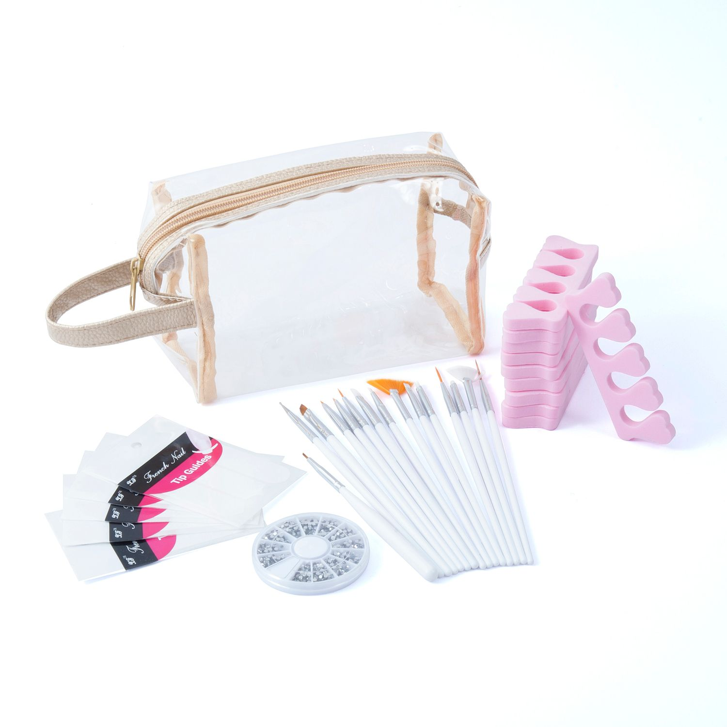 Zodaca 5-piece Nail Art Gift Set of Brushes, 3D Bling Crystal Rhinestones, Stickers, Separators & Clear Cosmetic Bag (5-in-1 Accessory Bundle)
