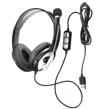 Wired Noise cancelling Surround Sound USB Stereo Super Bass Headband Over-Ear Office Gaming Headphone Headset Mic Volume Control with Microphone for Cell Phone, , PC, Virtual Surround Sound Headphones
