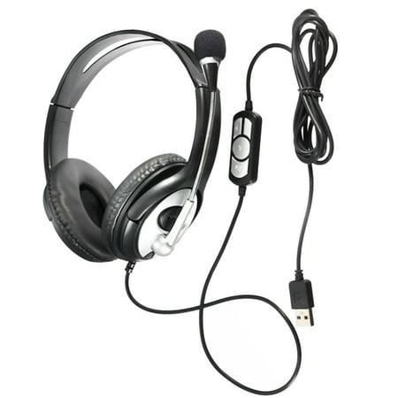 Wired Noise cancelling Surround Sound USB Stereo Super Bass Headband Over-Ear Office Gaming Headphone Headset Mic Volume Control with Microphone for Cell Phone, Tablet, PC,