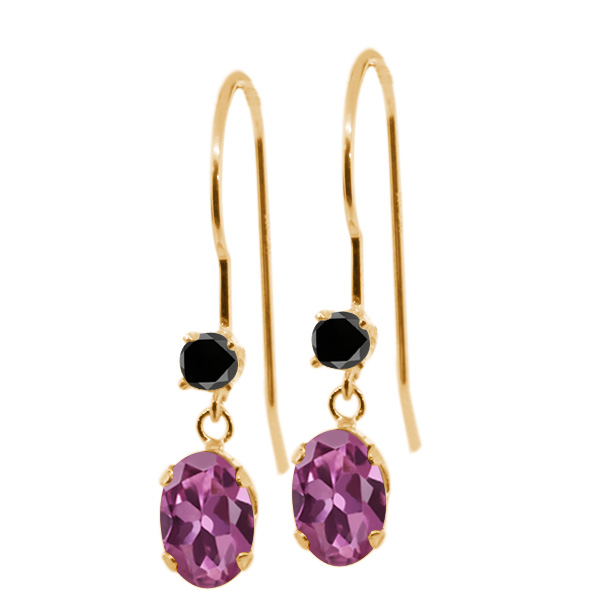 1.13 Ct Oval Pink Tourmaline Black Diamond 14K Yellow Gold Earrings by