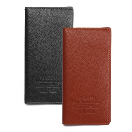 Meigar Men Leather Business Wallet Pockets Card Case Holder Long Clutch Bifold Purse (Business Card Wallet Leather)