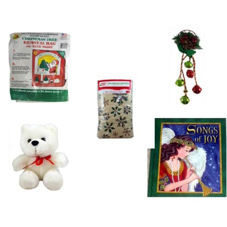 Christmas Fun Gift Bundle [5 Piece] -  Tree Removal Bag And Tree Skirt - Festive Holly Berry & Pinecone Door Knob Jingler -  Time  Wood Snowflakes Vinyl Tablecloth 60