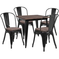 "Flash Furniture 31.5"" Square Black Metal Table Set with Wood Top and 4 Stack Chairs"