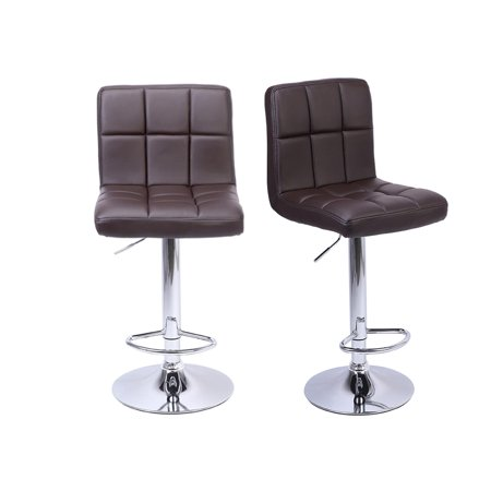 UBesGoo Modern PU Leather Adjustable Swivel Barstools, Armless Hydraulic Kitchen Counter Bar Stools Synthetic Leather Extra Height Square Island Bar Stool with Back Set of 2 ()