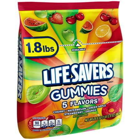 Life Savers 5 Flavors Gummies Resealable Candy Bag, 1.8 lbs.