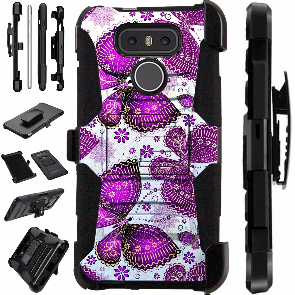 For LG G6 Case H872 VS988 Heavy Duty Durable Hybrid Armor Dual Layer Cover Kick Stand Rugged LuxGuard Holster (Purple Butterfly)