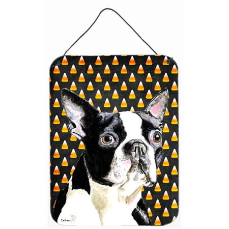 Carolines Treasures SC9171DS1216 12 x 16 in. Boston Terrier Candy Corn Halloween Portrait Aluminum Metal Wall & Door Hanging Prints - image 1 of 1