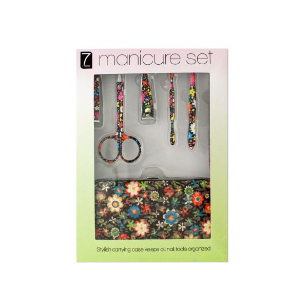 Bulk Buys Manicure Set with Stylish Floral Carrying Case, Case of 4