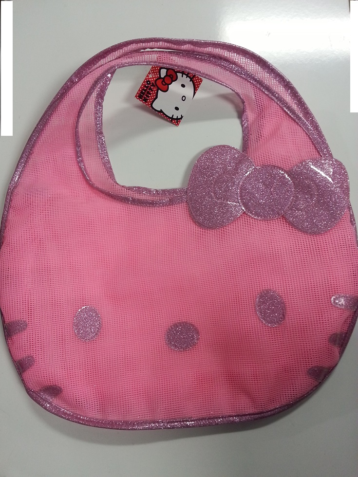 Hand Bag Hello Kitty Kitty Face Pink Mesh Bag New 674295 by Ruz