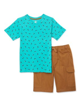Beverly Hills Polo Club Boys Short Sleeve T-Shirt & Cargo Shorts, 2-Piece Outfit Set, Sizes 4-12