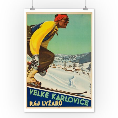 Velke Karlovice Vintage Poster (artist: Horak) Czech c. 1946 (9x12 Art Print, Wall Decor Travel Poster) Vintage Czech Art