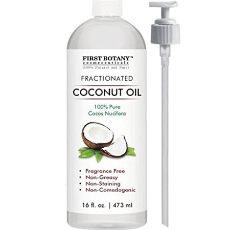 Fractionated Coconut Oil 16 fl. oz - 100% Natural & Pure MCT Coconut Oil for Hair, Skin,and Aromatherapy Carrier Oil, Massage Oil,Best Skin Moisturizer UV Resistant BPA Free