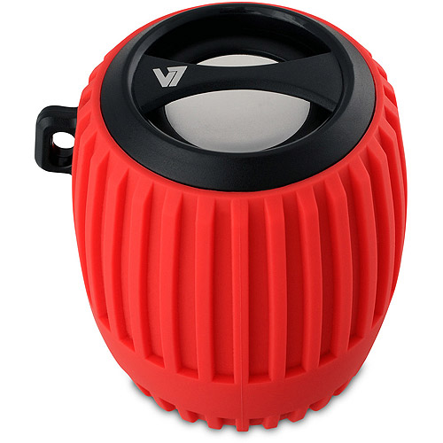 V7 Bluetooth Water Resistant Rechargeable Speaker with built-in mic and hands free calls - Outdoor and indoor use - Red
