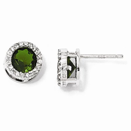 Cheryl M Sterling Silver W/ Rhodium-plated Glass Simulated Emerald & CZ Post Earrings (9MM)