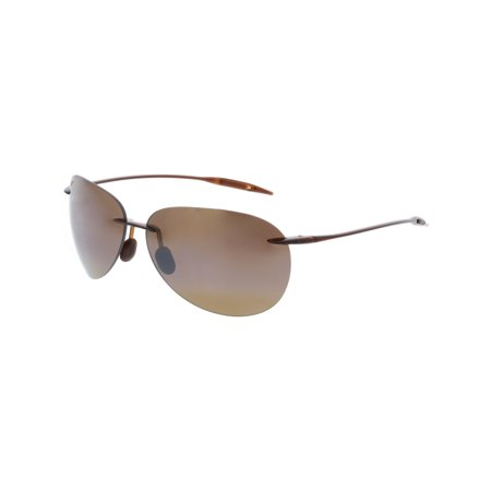 Maui Jim Men's Polarized Sugar Beach H421-26 Brown Rimless Sunglasses