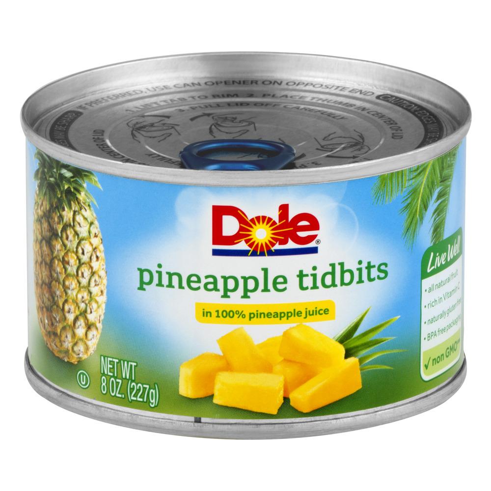 (6 Pack) Dole Pineapple Tidbits in 100% Pineapple Juice, 8 oz