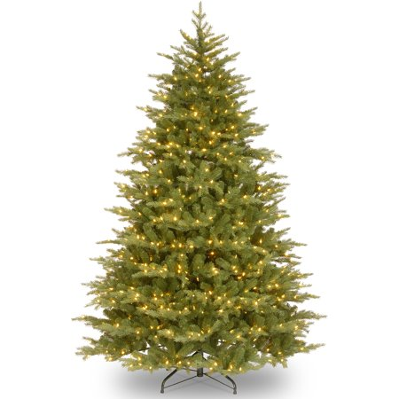 National Tree Pre Lit 9  Feel Real  Nordic Spruce Medium Hinged Artificial Christmas Tree With 1100 Clear Lights