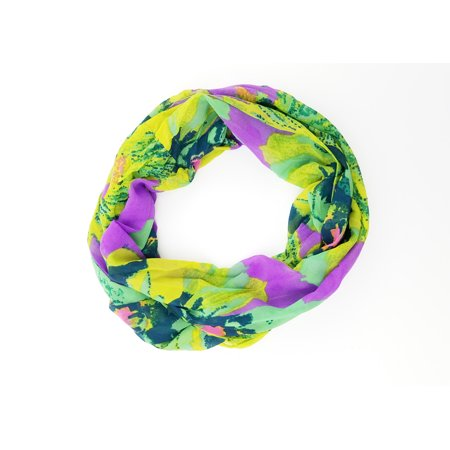 Multi Floral Scarf - Amtal Women Multicolor Floral Design Lightweight & Soft Infinity Scarf