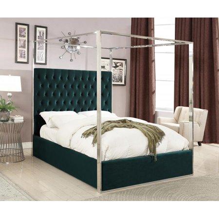 meridian furniture porter green velvet canopy bed king size traditional. Black Bedroom Furniture Sets. Home Design Ideas