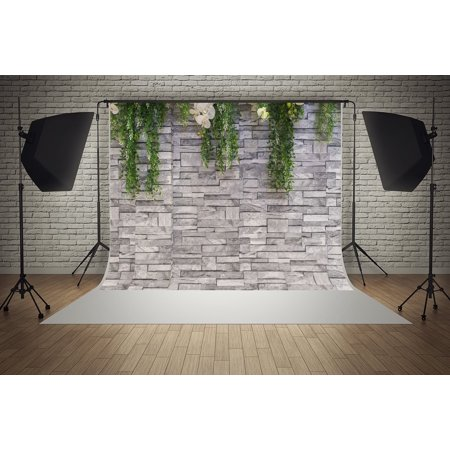 GreenDecor Polyester Fabric 7x5ft Flowers Gray Bricks Wall Baby Birthday Wedding Decorations Photography Backdrop Photo Booth Background (Birthday Photo Booth Backdrop)