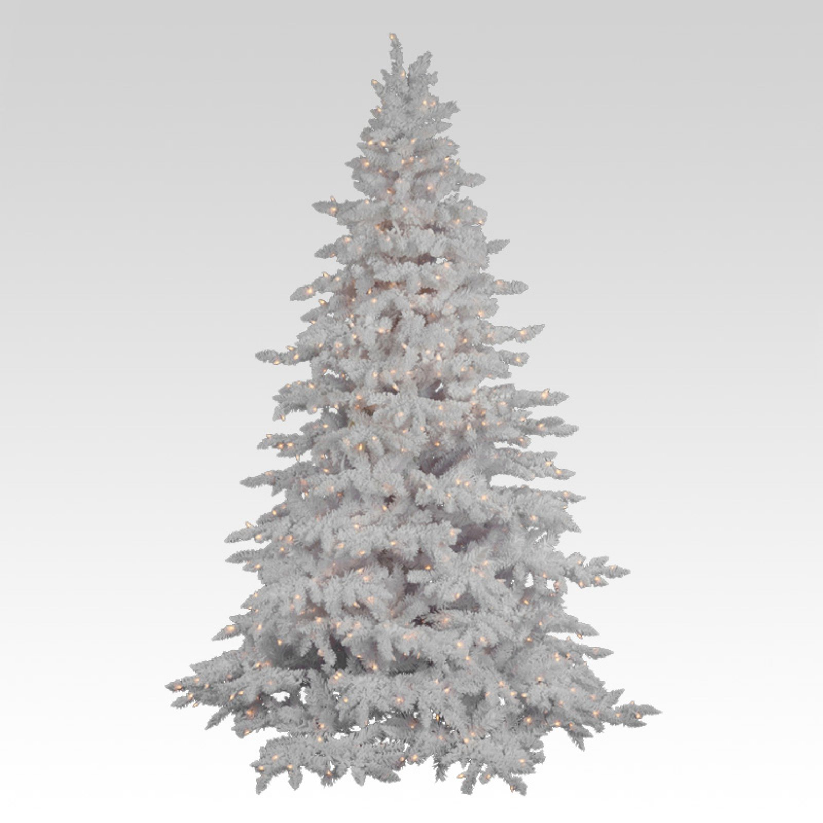 Flocked White Spruce Full Pre-lit Christmas Tree