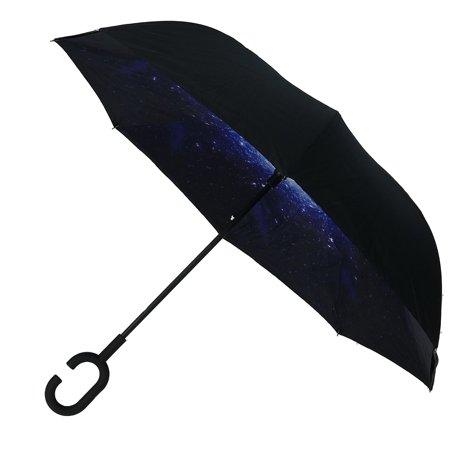 Parquet Galaxy Interior Double Layer Reverse Closing Stick Umbrella - image 6 of 6