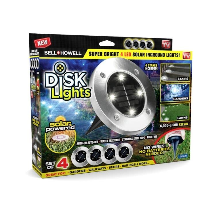 Bell + Howell Disk Lights - Solar Powered LED Outdoor Lights – As Seen on TV! 4 PACK